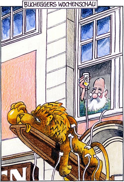 Karikatur: Schlapper Löwe bekommt von Bruno Gebhart Infusion. Urheber: Sepp Buchegger