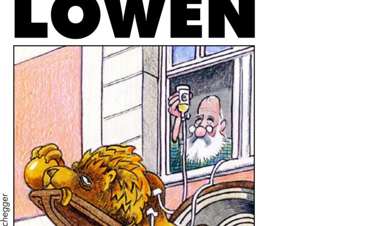 Titelseite Genossenschaftsladen-Flyer von AL/Grüne. Layout: Evelyn Ellwart. Karikatur: Sepp Buchegger