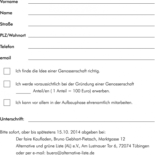 Seite 3 Genossenschaftsladen-Flyer von AL/Grüne. Layout: Evelyn Ellwart