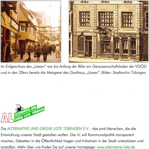 Seite 3 Genossenschaftsladen-Flyer von AL/Grüne. Layout: Evelyn Ellwart. Bilder: Stadtarchiv Tübingen